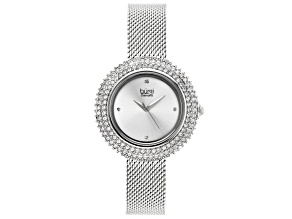 Pre-Owned Burgi™ Crystals From Swarovski™ Silver Tone Stainless Steel Mesh Metal Band Watch