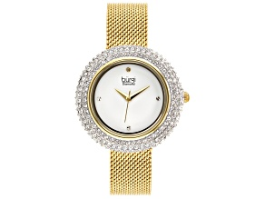 Pre-Owned Burgi™ Crystals From Swarovski™ Gold Tone Stainless Steel Mesh Metal Band Watch