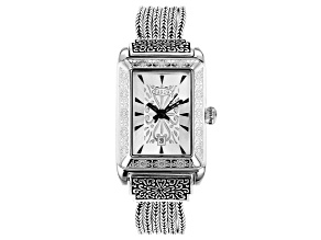 Pre-Owned White Mother Of Pearl Dial Sterling Silver Watch