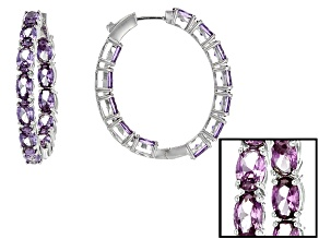 Pre-Owned Purple Lab Created Color Change Sapphire Rhodium Over Silver Hoop Earrings 12.43ctw