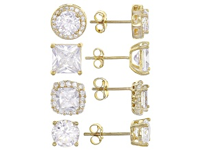 Pre-Owned White Cubic Zirconia 18k Yg Over Sterling Silver Earrings Set 9.20ctw