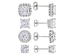 Pre-Owned White Cubic Zirconia Rhodium Over Sterling Silver Earrings Set 9.20ctw