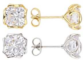 Pre-Owned CUBIC ZIRCONIA RHODIUM OVER SILVER & 18K YELLOW GOLD OVER STERLING SILVER EARRING SET OF 2