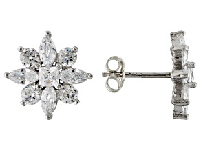 Pre-Owned White Cubic Zirconia Rhodium Over Sterling Silver Earrings 4.15ctw