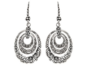 Pre-Owned Sterling Silver Hammered Earrings