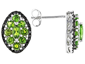 Pre-Owned Chrome Diopside Rhodium Over Sterling Silver Earrings 1.90ctw
