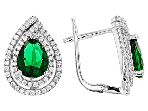 Pre-Owned Green And White Cubic Zirconia Rhodium Over Sterling Silver Earrings 3.15ctw