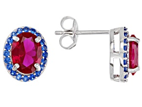 Pre-Owned Red Lab Created Ruby Rhodium Over Silver Earrings 2.76ctw