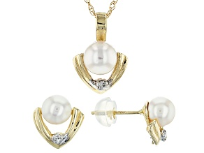 Pre-Owned 14k Yellow Gold 5-5.5mm Cultured Japanese Akoya And Diamond Earrings And Pendant Set