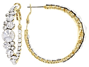 Pre-Owned  White Crystal Gold Tone Hoop Earrings