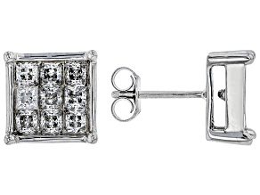 Pre-Owned White Cubic Zirconia Rhodium Over Sterling Silver Stud Earrings 1.80ctw