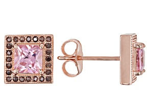 Pre-Owned Pink & Brown Cubic Zirconia 18K Rose Gold Over Sterling Silver Center Design Earrings 2.85
