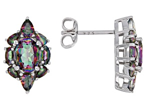 Pre-Owned Multi-color quartz rhodium over sterling silver stud earrings 2.52ctw