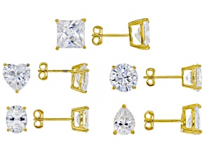 Pre-Owned Cubic Zirconia 14k Yellow Gold Over Silver Earrings 30.00ctw