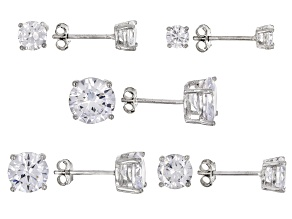 Pre-Owned White Cubic Zirconia Rhodium Over Sterling Silver Earrings Set Of 5 15.74ctw