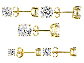 Pre-Owned White Cubic Zirconia 18K Yellow Gold Over Silver Earrings Set Of 5 15.74ctw