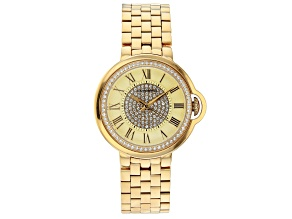 Pre-Owned Carrero™ White Crystal Dial Gold Tone Stainless Steel Watch.