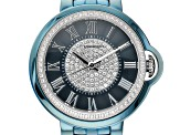 Pre-Owned Carrero™ White Crystal Dial Blue Stainless Steel Watch