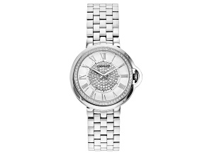 Pre-Owned Carrero™ White Crystal Dial Silver Tone Stainless Steel Watch.