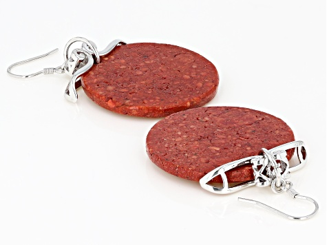 Pre-Owned Red Sponge Coral Slice Rhodium Over Silver Earrings