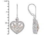 Pre-Owned White Diamond Rhodium And 14k Rose Gold Over Sterling Silver Earrings .33ctw