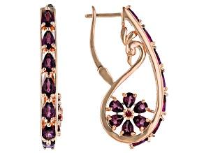 Pre-Owned Raspberry Color Rhodolite 18k Rose Gold Over Sterling Silver Earrings 4.39ctw