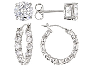Pre-Owned White Cubic Zirconia Rhodium Over Sterling Silver Hoop And Stud Earrings Set 10.00 ctw