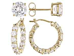Pre-Owned White Cubic Zirconia 18K Yellow Gold Over Sterling Silver Hoop And Stud Earrings Set 10.00