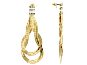 Pre-Owned White Crystal Gold Tone Dangle Earrings