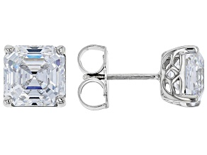 Pre-Owned Zirconia From Swarovski ® Imperial Mosaic Rhodium Over Sterling Silver Earrings 9.05ctw