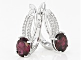 Pre-Owned Rhodolite Rhodium Over Sterling Silver Dangle Earrings 3.60ctw
