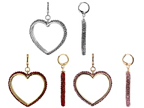 Pre-Owned multi-Color Crystal Set of 3 Heart Earrings