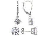 Pre-Owned white cubic zirconia rhodium over sterling silver earrings set 9.78ctw
