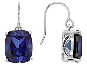 Pre-Owned Blue Lab Created Sapphire Rhodium Over Sterling Silver Earrings 13.99ctw