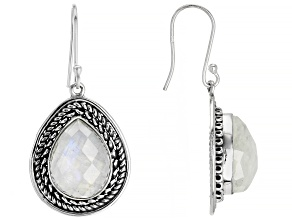 Pre-Owned Rainbow Moonstone Solitaire Sterling Silver Dangle Earrings