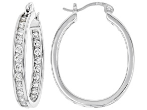 Pre-Owned White Cubic Zirconia Rhodium Over Sterling Silver Inside Out Hoop Earrings 3.00ctw