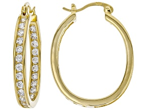 Pre-Owned White Cubic Zirconia 18K Yellow Gold Over Sterling Silver Inside Out Hoop Earrings 3.00ctw