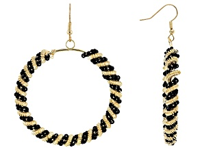 Pre-Owned Black Bead Gold Tone Circle Dangle Earrings