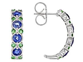 Pre-Owned Blue kyanite sterling silver hoop earrings 3.50ctw