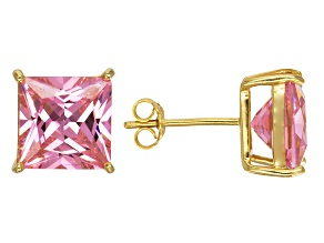 Pre-Owned Bella Luce® 11.61ctw Pink Diamond Simulant 18k Over Silver Solitaire Earrings