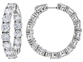 Pre-Owned Cubic Zirconia Rhodium Over Sterling Silver Hoop Earrings 23.68ctw