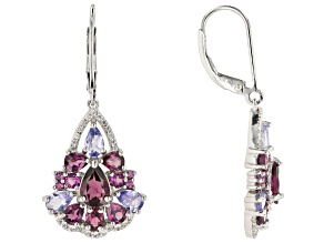 Pre-Owned Purple raspberry color rhodolite rhodium over silver earrings 5.46ctw