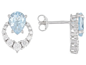 Pre-Owned Blue Topaz Rhodium Over Silver Earrings 3.72ctw