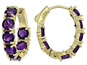 Pre-Owned Purple amethyst 18k gold over silver hoop earrings 6.30ctw