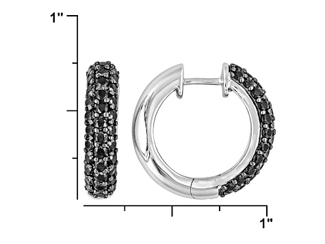 Pre-Owned Black Spinel Rhodium Over Sterling Silver Hoop Earrings 2.50ctw