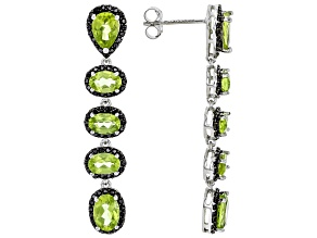 Pre-Owned Green peridot rhodium over silver earrings 6.32ctw