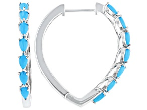 Pre-Owned Sleeping Beauty Turquoise Rhodium Over Sterling Silver Hoop Earrings
