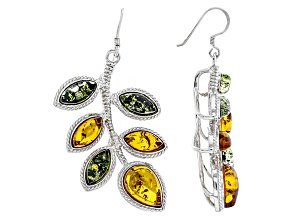 Pre-Owned Green Amber Sterling Silver Earrings