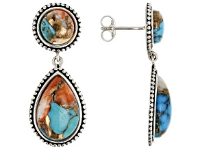 Pre-Owned Southwest Style By JTV™ Turquoise Blended With Spiny Oyster Shell Rhodium Over Silver Earr