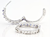 Pre-Owned Blue And White Cubic Zirconia Rhodium Over Sterling Silver Hoop Earrings 2.28ctw
